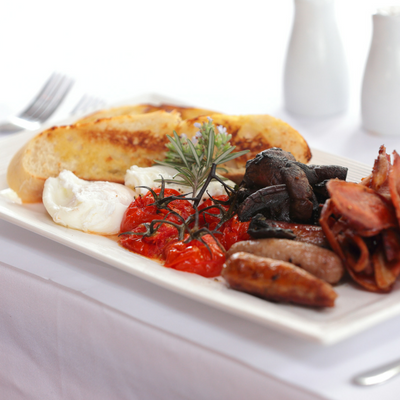 Oasis Gardens Function Centre - The Big Brekky - free range eggs, Maidments Bacon, slow roasted cherry tomatoes, swiss mushrooms, toasted ciabatta